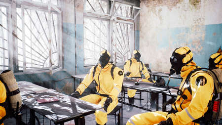 Survivors in special suits after a nuclear war or a deadly viral pandemic meet in a destroyed building. Post-apocalyptic world concept. 3D Rendering.