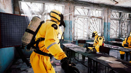 The last survivors of a nuclear war or a deadly viral pandemic discuss a roadmap in an abandoned school. Post-apocalyptic world concept. 3D Rendering. Stock Photo