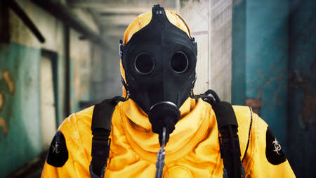 A man in a special suit destroys a coronavirus infection with one blow. Post-apocalyptic world concept. 3D Rendering. Reklamní fotografie