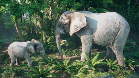 An African elephant with a baby elephant is eat plants in the green jungle. A look at the African jungle. 3D Rendering.