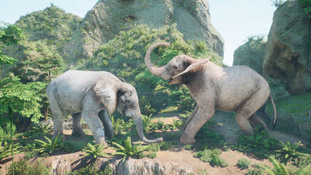 Battle of two large African elephants in the green jungle on a sunny day. A look at the African jungle. 3D Rendering.
