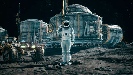The astronaut researcher salutes against the background of the space base and planetrover. 3D Rendering.