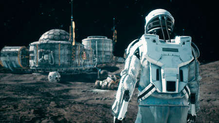 An astronaut approaches his rover at the space base of the future. 3D Rendering.