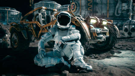 The astronaut is resting near his lunar rover and admiring the planet. View of the lunar surface and space base. 3D Rendering. Stock Photo