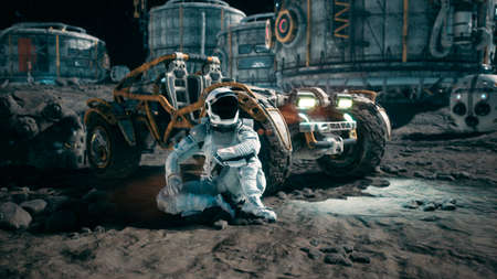 The astronaut is resting near his lunar rover and admiring the planet. View of the lunar surface and space base. 3D Rendering. Reklamní fotografie