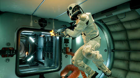 Space drama on a spaceship after the conflict of astronauts. 3D Rendering.