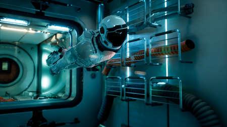 The astronaut flies in zero gravity modulo his spacecraft. 3D Rendering. 스톡 콘텐츠