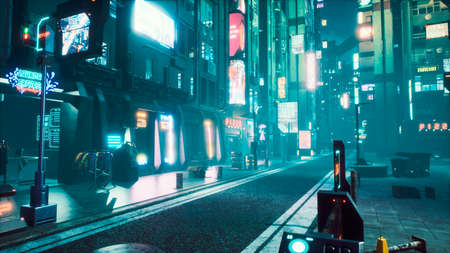 Deserted neon foggy street of the cybercity with dark lonely buildings. View of an future fiction city. 3D Rendering.