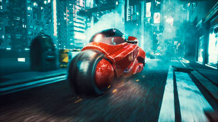 The girl from the cyber city at a huge speed rides futuristic motorcycle along the night street. View of an future fiction city. 3D Rendering. Reklamní fotografie