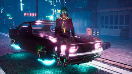 A girl is resting on the hood of her flying car in the middle of the night street of a neon cyber city. View of an future city. 3D Rendering. Reklamní fotografie