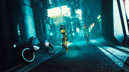 Cyber soldier walks through the dark streets of the cyber city of the future. View of an future fiction city. 3D Rendering. Reklamní fotografie