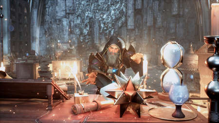 The magician learns new spells and combat magic in his ancient mystical castle. 3D Rendering.