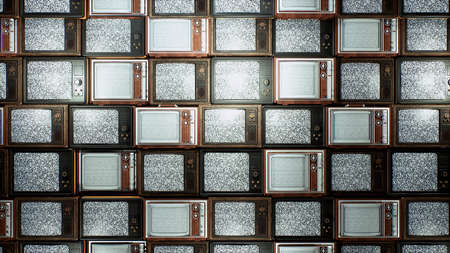 Several vintage TVs in an old building. TVs from the 70s and 80s, retro TVs with poor signal reception. Old televisions on an old table. 3D Rendering.