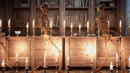 Ancient creepy skeletons sneak around the old mystic castle. 3D Rendering. Imagens