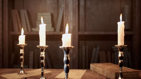 Candles on the table of an alchemist in a medieval ancient castle. 3D Rendering.
