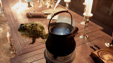 On the alchemists table is a green big toad and a pot of steaming potion. 3D Rendering. Reklamní fotografie