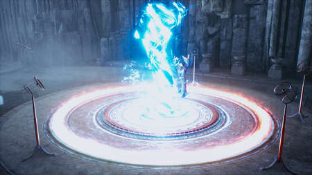 The ancient wizard is training to create new spells for combat magic. 3D Rendering. Reklamní fotografie