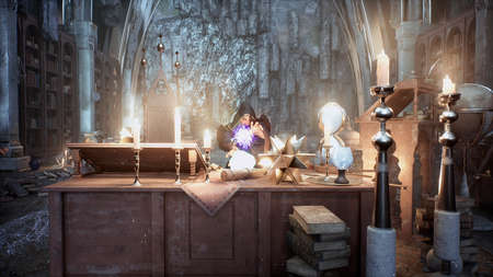 An old wizard is practicing battle magic in his ancient castle. 3D Rendering.