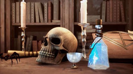 A skull and a manuscript with spells lie on the ancient table of the alchemist. 3D Rendering.