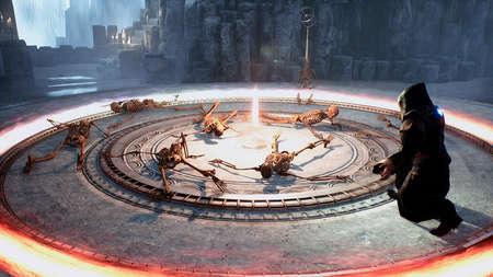 The wizard revives old skeletons using ancient dark magic. 3D Rendering. Standard-Bild