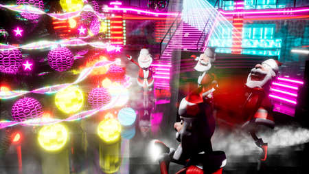 Cheerful Santa Clauses dance a fiery dance around the New Year tree at the night disco. 3D Rendering.