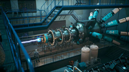 Scientists watch the work of a time machine or a futuristic thermonuclear reactor. A physicist controls a time machine. 3D Rendering. Archivio Fotografico