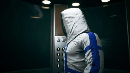 The physicist-scientist takes the elevator and walks down the corridor into the hall with the thermonuclear reactor of the future. 3D Rendering.