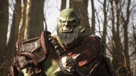 A formidable orc warrior runs through the sunny forest to battle enemies. Fantasy medieval concept. 3D Rendering. Reklamní fotografie