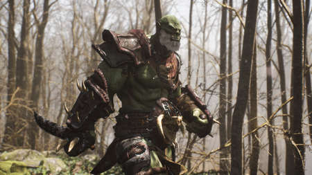 A fearsome warlike orc runs through a fairy-tale forest to battle enemies. Fantasy medieval concept. 3D Rendering.