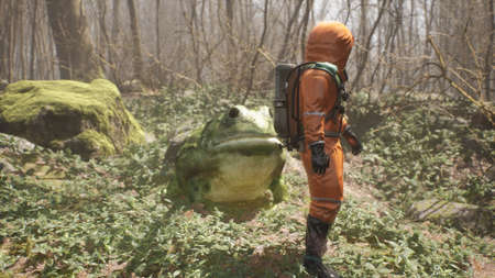 A terrible huge frog grown on pesticides attacks a defenseless biologist studying the forest. Attack of a terrible mutant. 3D Rendering. Reklamní fotografie