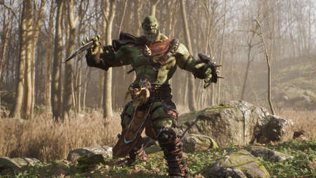 A formidable orc warrior trains before battle and demonstrates combat skills. Fantasy medieval concept. 3D Rendering.