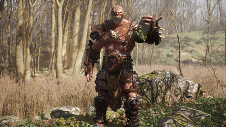 A formidable orc warrior lifts the severed head of a defeated enemy from the ground. Fantasy medieval concept. 3D Rendering.