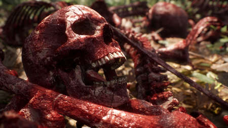 Bloody bones and skulls lie on the battlefield in the middle of the forest. War and apocalypse concept. 3D Rendering. Standard-Bild