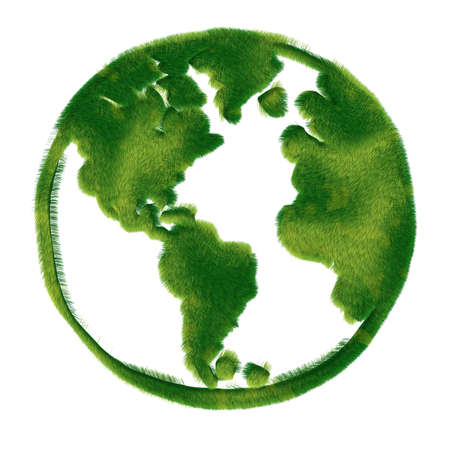 Globe illustration covered with grass.