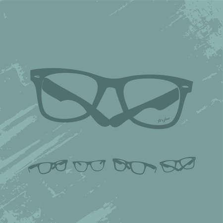 Hip Glasses Set on Grunge Background  Vettoriali