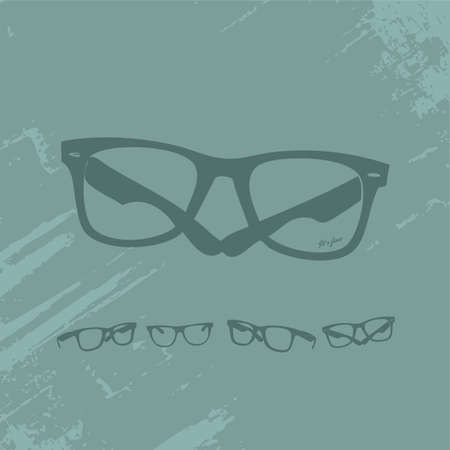 Hip Glasses Set on Grunge Background  Illustration