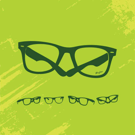 eyewear fashion: Hip Glasses Set on Grunge Background  Illustration