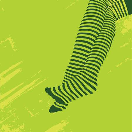 Legs in Striped Stockings Illustration