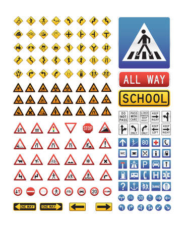 Big collection of vector traffic sign icons