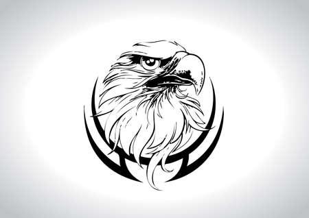 Ilustración vectorial de arte de línea de cabeza de águila