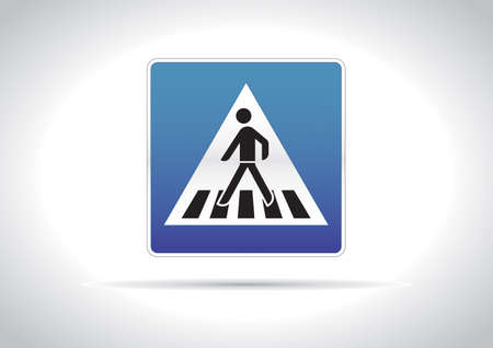 Zebra crossing, pedestrian cross warning traffic sign icon Vector