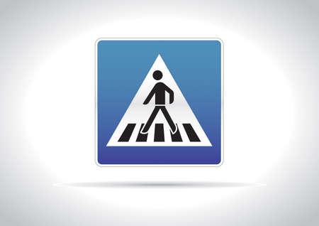 Zebra crossing, pedestrian cross warning traffic sign icon