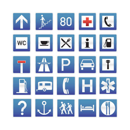 gas icon: Blue Traffic Signs Collection