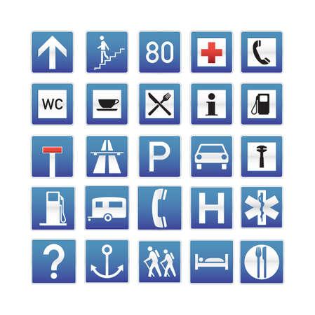 Colección de señales de tráfico azul Ilustración de vector