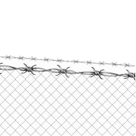 Barbed Wire Fence  Stock Vector - 9867900