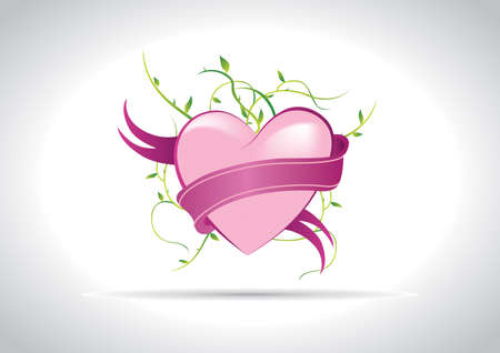 eye candy pink heart with ribbon Stock Vector - 9867915