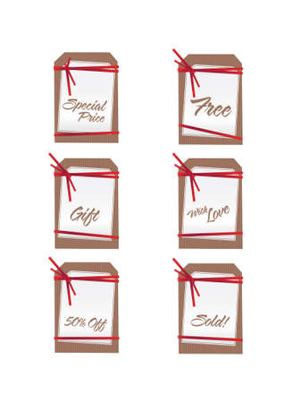 Sale tags with red ribbons