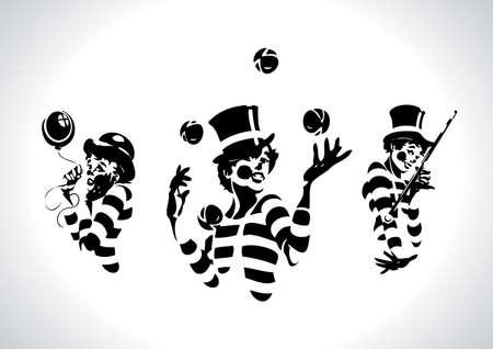 juggling: Serie de ilustraci�n de payaso Vectores