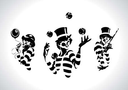 Clown Illustration Series Vettoriali
