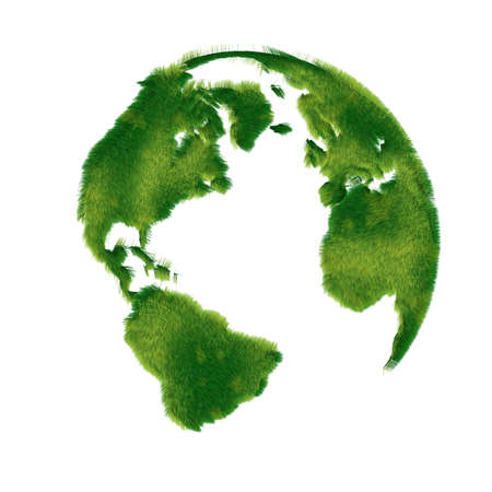 Globe illustration covered with realistic grass Stock Photo